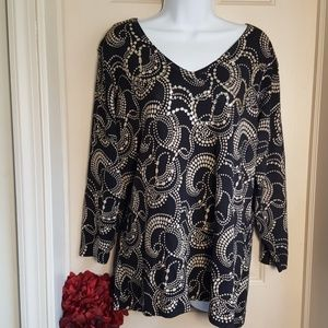 CDP & Co. Black and Cream Swirl with Sequin Neck